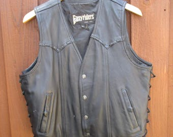 Black Leather Motorcycle Vest Easyriders Side Lace Up Snap Front Vest Biker Vest Size L