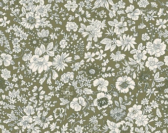Fabric -Liberty  - The English Garden - Emily silhouette, olive - Quilters weight cotton
