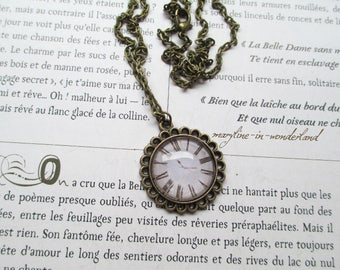 Necklace cabochon bronze watch