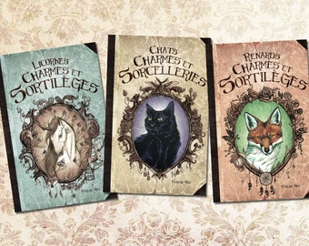 Set of 3 books of spells - unicorns, cats and foxes collection