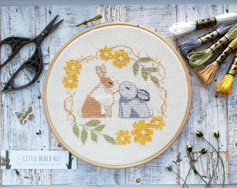 Rabbit cross stitch kit, rabbit lover gift, easy cross stitch, embroidery kit, wedding gift, beginners cross stitch kit, rabbit sewing gift