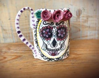 Sugar skull mug, ceramic coffee cup, day of the dead, made to order