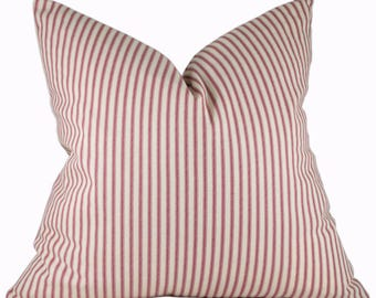 Ticking Pillow Cover - Magnolia Home Fashions Berlin Red - Red Pillow Covers - Farmhouse Decor - Custom Sizes with Zipper Closure