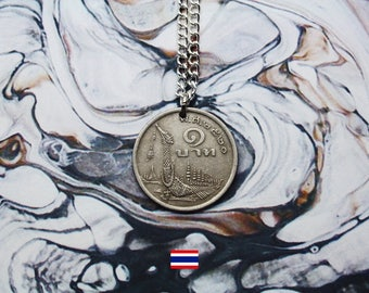 Thai 1 Baht (1977) Handmade Silver Coin Necklace - Silver Plated Chain.