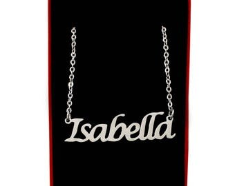 Isabella Name Necklace Stainless Steel | Birthday Gift Christmas Present Jewellery For Her