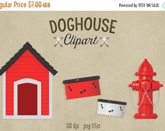 80% OFF SALE Doghouse Clipart, 300 dpi PNG file, dog, fire hydrant, dog bowl with bones clipart, commercial use, scubamousestudiosjr