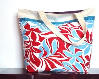Maxi blue Pacific cotton canvas tote