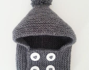 Hat(Cap) baby birth in 24 hand-knitted dark gray woolen months cowl with pompom and buttonhole