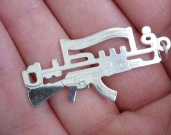 Palestine gun & flag sterling shiny silver pendant