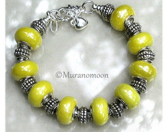 Yellow Charm Bracelet Large Hole Yellow Glass Beaded Bracelet Big Hole European Charm Bracelet Gift For #EB1588