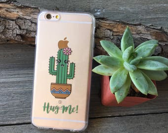 Cactus Hug Me iPhone Case, Your choice of Soft Plastic (TPU) or WoodS