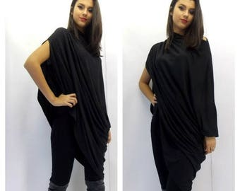 SALE 20% OFF Asymmetric Tunic / Plus Size Tunic / Black Loose Tunic / Oversize Tunic Dress / Black Dress Tunic / Maternity Tunic TT06