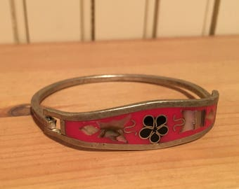 Sterling silver inlayed mexican bracelet