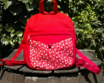 Red canvas small backpack
