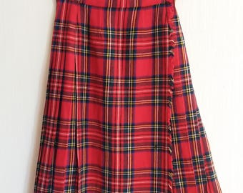 Scottish Tartan Plaid Authentic Hot Red Wool Wrap Skirt Size Medium to Small