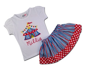 Girl's Circus Outfit with Personalized Circus Birthday Shirt and Circus Skirt