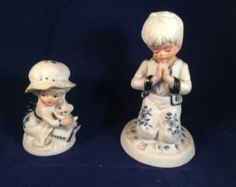 Rare Vintage Brinns Blue White praying boy and girl with Teddy Bear Pittsburgh Japan