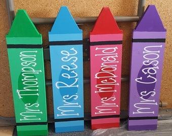 Wood Custom Teacher Classroom Crayon Name Plate