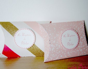 Pink and gold baptism favors box
