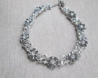 Vintage Grey Clear  Rhinestone Flower Silver Necklace