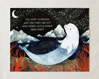 Baby Beluga Whale - Art Print Nursery Decor