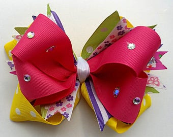 "OTT stacked boutique hairbow 6"" X 4"", handmade bow, XL bow, cheer bow, hot pink, flowers, jewels, yellow dots, summer ponytail, OOAK"