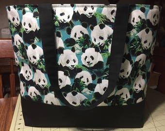 Panda tote: large tote bag with indigo lining