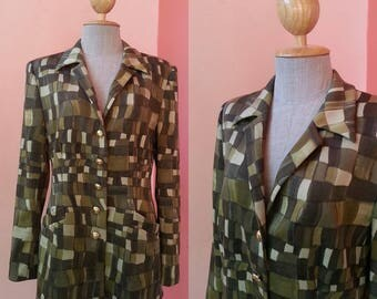 ESCADA Blazer Vintage Graphic Print Suit Jacket With Long Sleeve