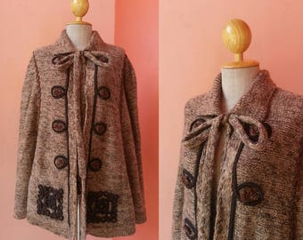 Vintage 70s Brown Wool Poncho Cape Women Ponchos Hippie Poncho Boho Poncho Bohemian Poncho