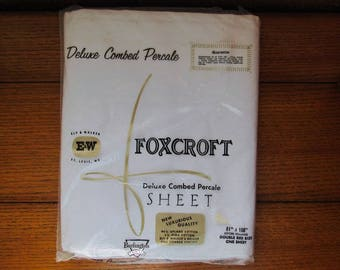 All Cotton Percale Sheet Flat Double Bed Size 81 x 108 New Old Stock Vintage Foxcroft Made In USA