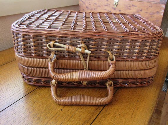 Vintage Wicker Sewing Or Picnic Lunch Basket Suitcase Style With Handles/ Padded Interior