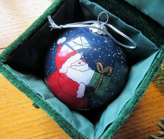 Santa Ornament With Green Velvet Box