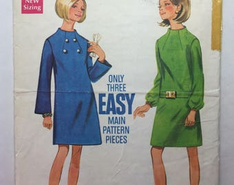 60's Vintage Butterick 4941 Slim Fitting Dress With Standing Neckline Pattern Size 12 Bust 34 Cut