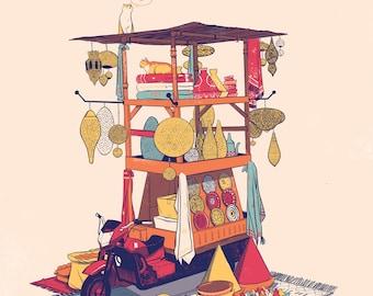 Morocco Mobile Souk print, Marrakech, Illustration, Berber rug, Lamps, Tuk Tuk, Plates, Cats
