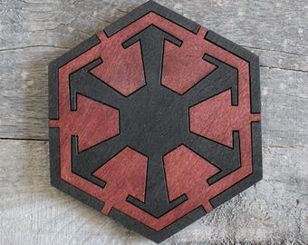 Sith Order Wood Coaster | Rustic/Vintage | Hand Stained and Glued | Comic Book Gift | Star Wars