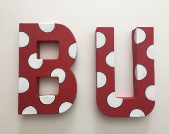 Boston University/ Bradley University handpainted letters