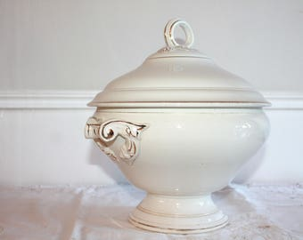 Ironstone Tureen, DIGOIN SARREGUEMINES, Vintage Soup Bowl, French Ironstone, White Ironstone, Soup Tureen, Antique Tureen, Ceramic Bowl