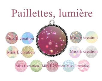 Lights, glitter Board digital image round cabochon 25mm and 20mm and 18mm