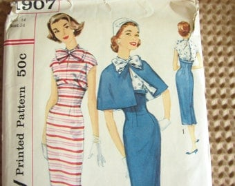 1950s pattern by Simplicity, No. 1907, Dress pattern plus cape, si dress with empire waist, size 14, bust 34""