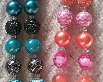 Personal Initial H Bubble Gum Bead Necklace  (you pick) each
