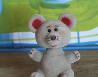 Vintage Flocked Mouse  BOBBLE HEAD/KITCH 1970's