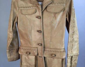 Vintage Pioneer Leather Fringe Jacket// Western Tan Leather Jacket// 70s Ranch Jacket XS (F1)