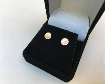 14K SOLID Gold Nugget Studs - 5mm Organically Created One of a Kind Earrings