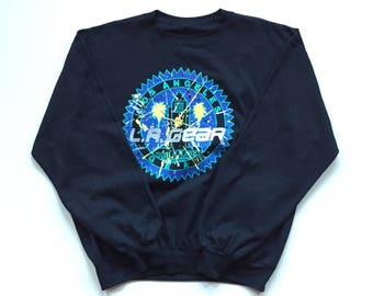 90's LA Gear Hip Hop crew neck sweater DEADSTOCK 100% cotton pullover knit Long Sleeve  men's Large in Black
