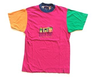 Regarta Sport 90's Multi Colour Blocking cut and sewn T Shirt  Official vintage Short sleeve / Size Men's Medium