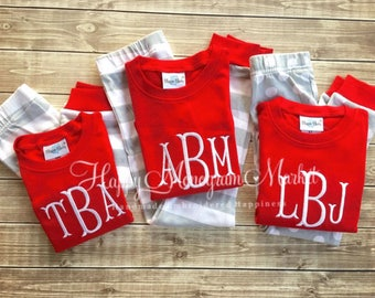 Organic Children's Monogrammed initials name Christmas Stripe Pajama Set Red Shirt Gray and White Stripe Pant Matching Family Holiday PJ's