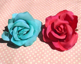 Pretty rose hair clip in pink or blue