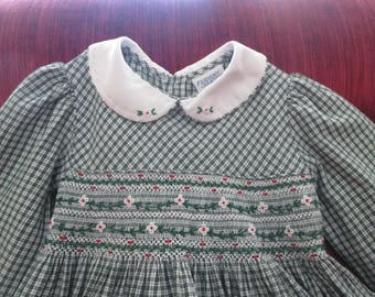 Friedknit Green Plaid Dress Embroidered Smocking/Fall Dress/Christmas Dress  Circa 1980 Size 3T  #18012