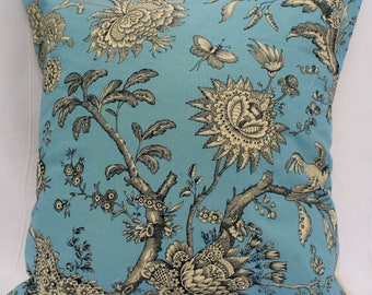 Wedgewood Blue Floral Cushion Cover