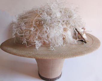 Fantastic White Straw Hat adorned with Ostrich Feathers